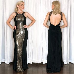 Gold Sequin Open Back Pageant Prom Evening Gown